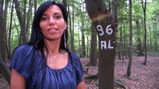 Milf brune aux gros seins taille une pipe dans les bois